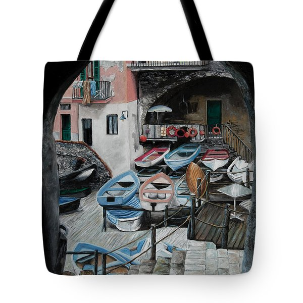 Harbor's Edge In Riomaggiore Tote Bag by Charlotte Blanchard