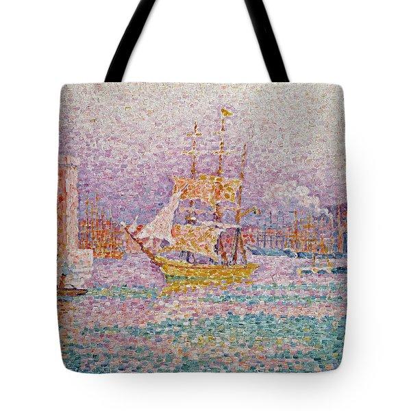 Harbour At Marseilles Tote Bag by Paul Signac