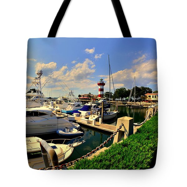 Harbour Town Marina Sea Pines Resort Hilton Head Sc Tote Bag