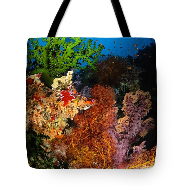Hard Coral And Soft Coral Seascape Tote Bag by Todd Winner