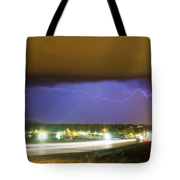 Hard Rain  Lightning Thunderstorm Over Loveland Colorado Tote Bag by James BO  Insogna
