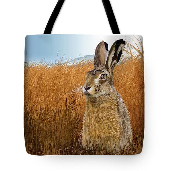 Hare In Grasslands Tote Bag