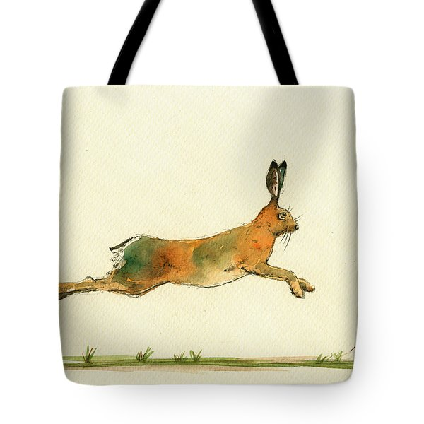 Hare Running Watercolor Painting Tote Bag