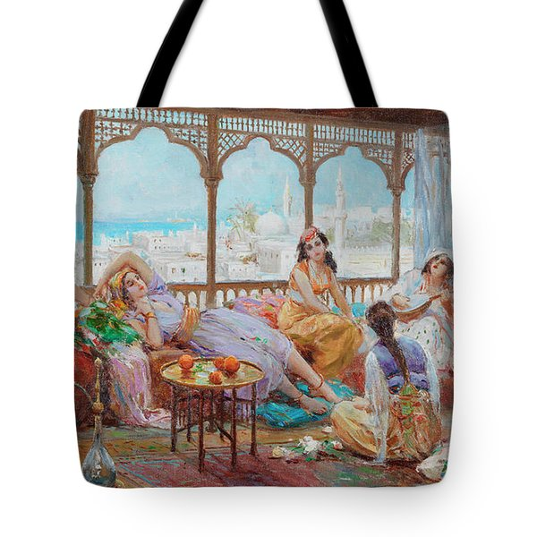 Harem Girls Resting On A Terrace, The Coast Beyond Tote Bag