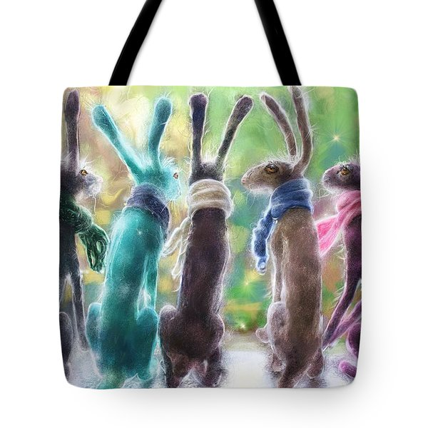 Hares With Scarves Tote Bag