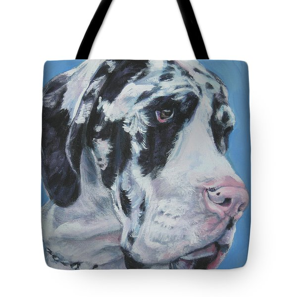 harlequin Great Dane Tote Bag by Lee Ann Shepard