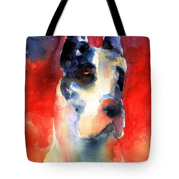 Harlequin Great Dane Watercolor Painting Tote Bag