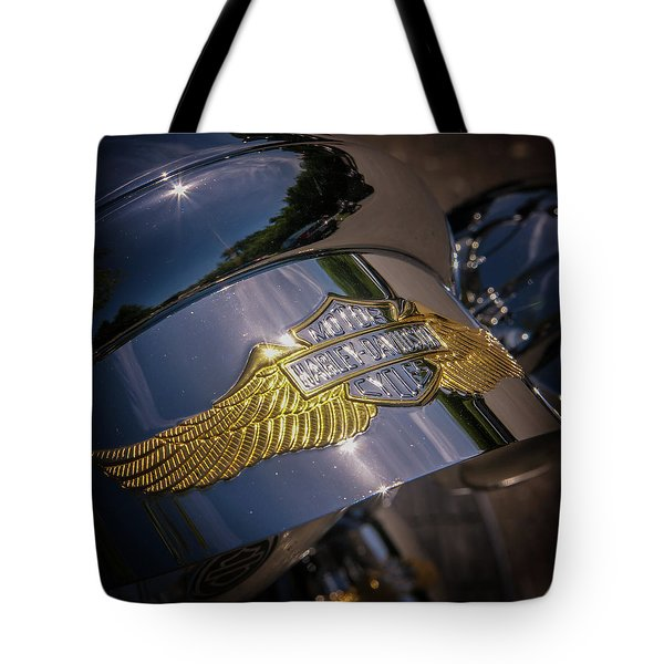 Tote Bag featuring the photograph Harley Davidson Badge by Samuel M Purvis III