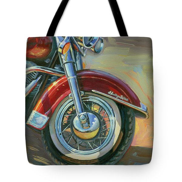 Tote Bag featuring the painting Harley-davidson Heritage Softail by Lesley Spanos