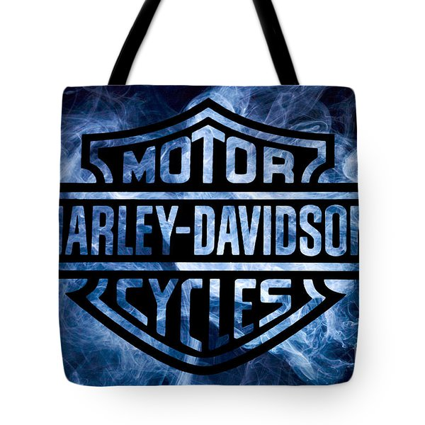 Harley Davidson Logo Blue Tote Bag by Randy Steele