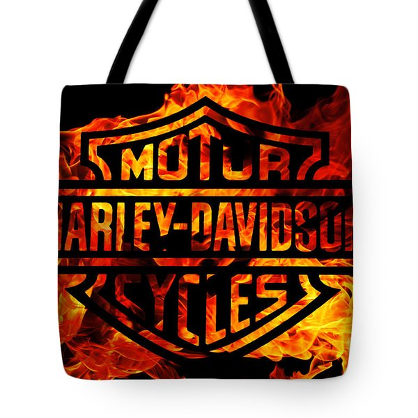 Harley Davidson Logo Flames Tote Bag by Randy Steele
