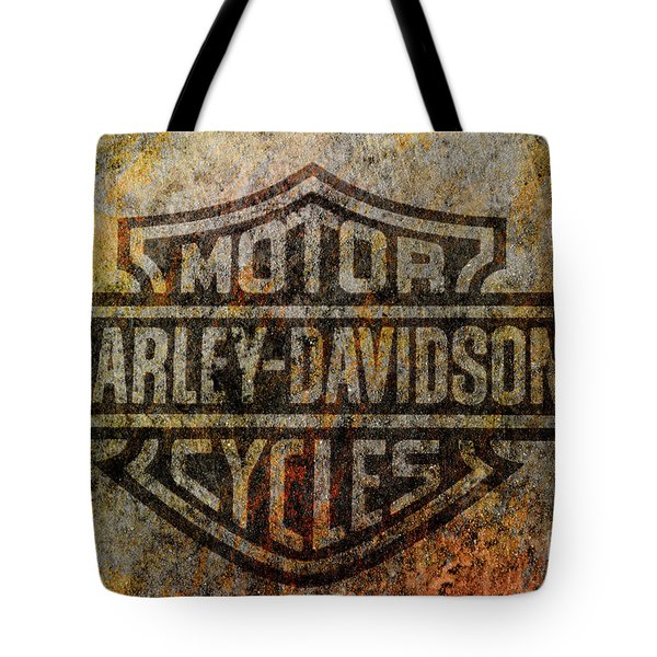 Harley Davidson Logo Grunge Metal Tote Bag by Randy Steele