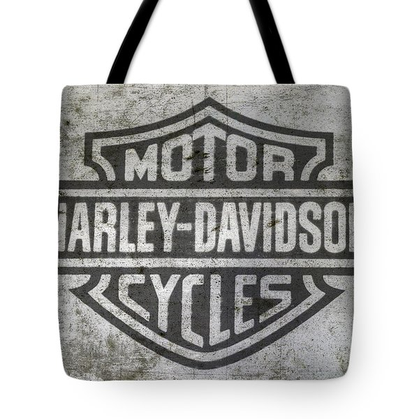 Harley Davidson Logo On Metal Tote Bag by Randy Steele
