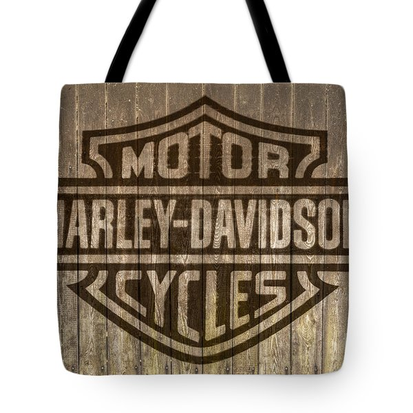 Harley Davidson Logo On Wood Tote Bag by Randy Steele