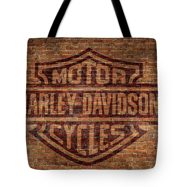 Harley Davidson Logo Red Brick Wall Tote Bag