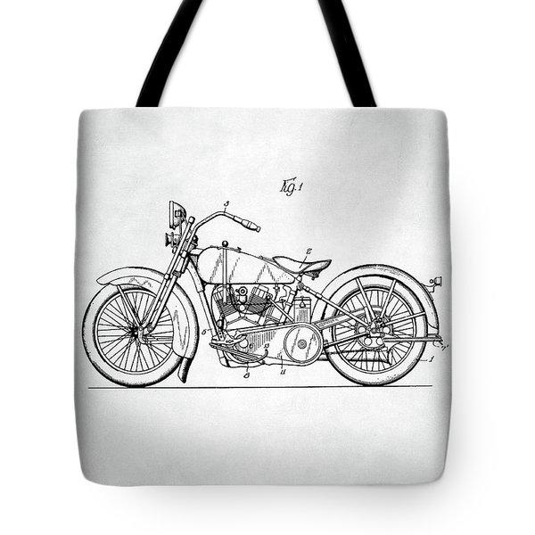 Tote Bag featuring the digital art Harley Davidson Patent by Taylan Apukovska