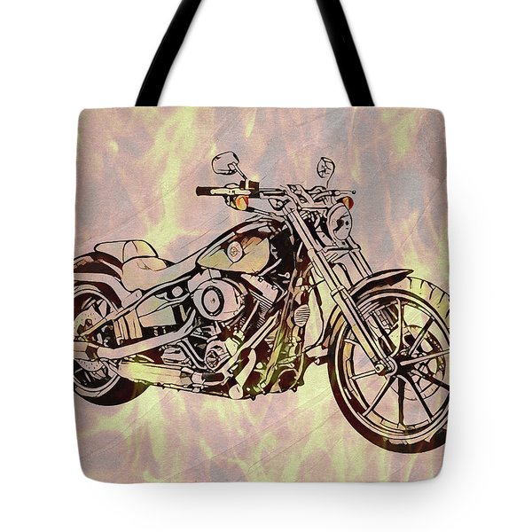 Tote Bag featuring the mixed media Harley Motorcycle On Flames by Dan Sproul