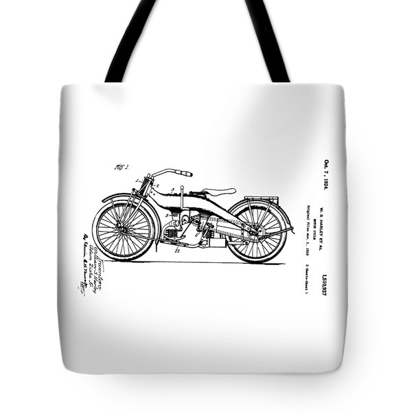 Harley Motorcycle Patent Tote Bag by Bill Cannon