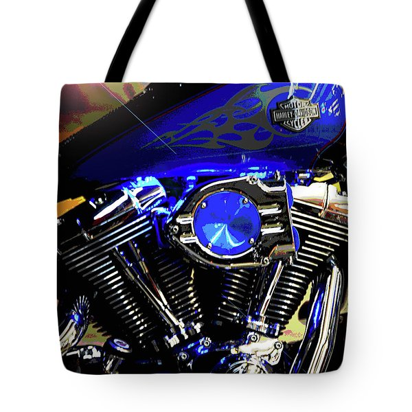 Harleys Twins Tote Bag by DigiArt Diaries by Vicky B Fuller