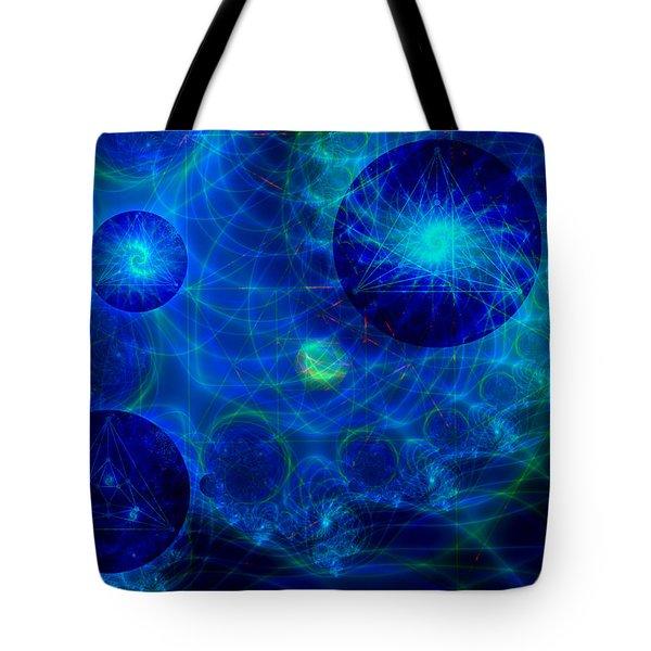 Tote Bag featuring the digital art Harmonic Galaxies by Fran Riley