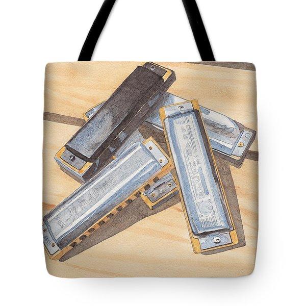 Harmonica Pile Tote Bag by Ken Powers