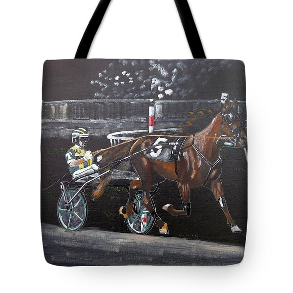 Tote Bag featuring the painting Harness Racing by Richard Le Page