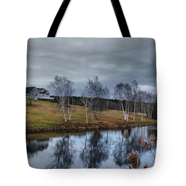 Harpswell Birches 14399 Tote Bag by Guy Whiteley