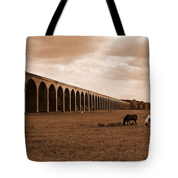 Harringworth Viaduct And Horses Grazing Tote Bag by Louise Heusinkveld