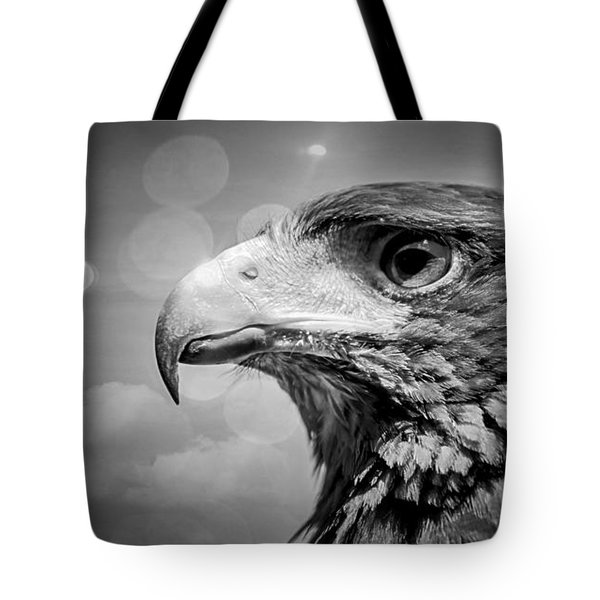Harris Hawk  Black And White Tote Bag