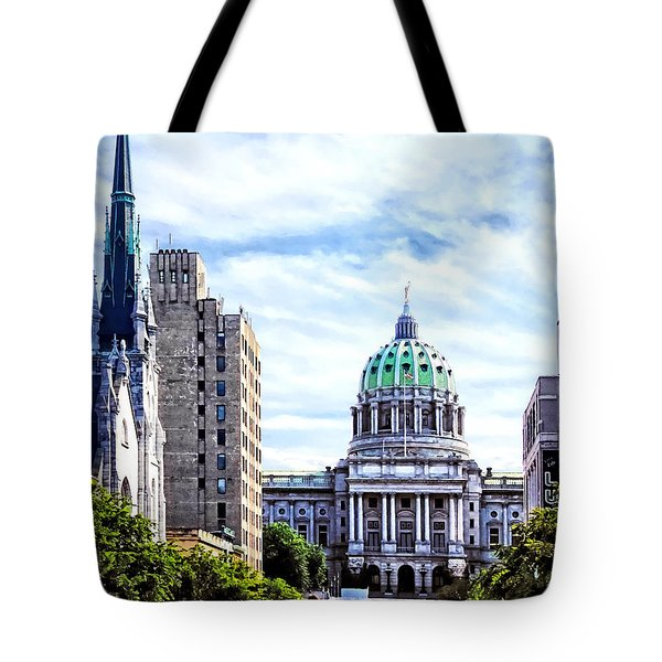 Harrisburg Pa - Capitol Building Seen From State Street Tote Bag