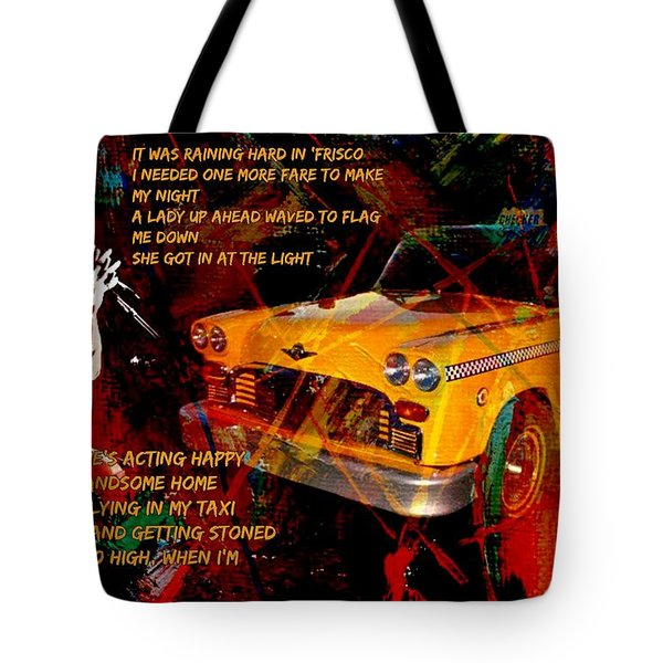 Harry Chapin Taxi Song Poster With Lyrics Tote Bag