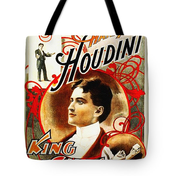 Harry Houdini - King Of Cards Tote Bag by Bill Cannon