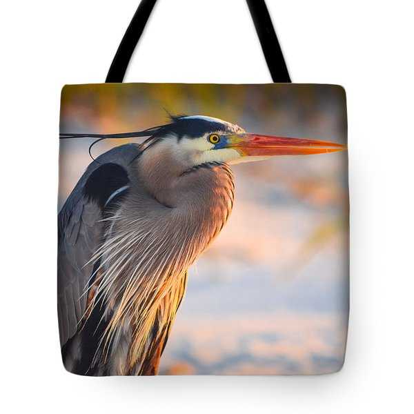 Harry The Heron With Plumage Close-up Tote Bag by Jeff at JSJ Photography