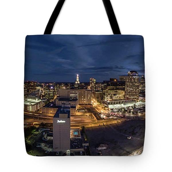 Hartford Ct Night Panorama Tote Bag