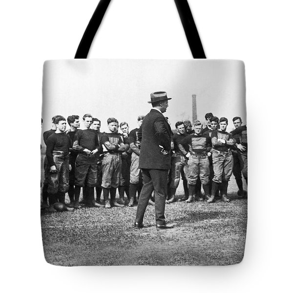 Harvard Football Practice Tote Bag by Underwood Archives