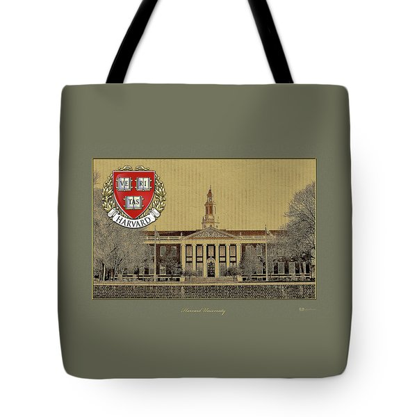 Harvard University Building Overlaid With 3d Coat Of Arms Tote Bag