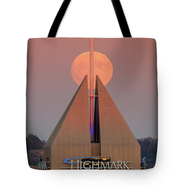 Tote Bag featuring the photograph Harvest Moon In Pittsburgh  by Emmanuel Panagiotakis