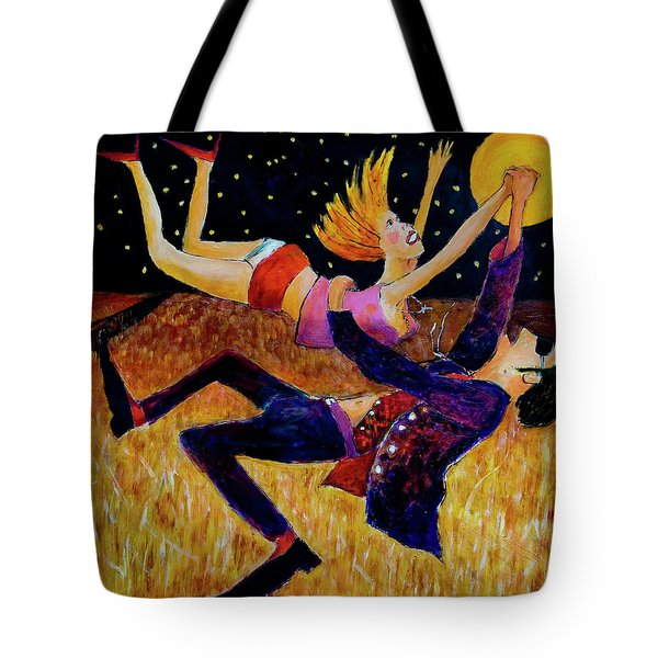 Tote Bag featuring the painting Harvest Moon Jive by Jeremy Holton