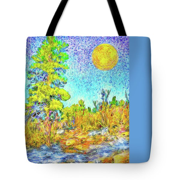 Tote Bag featuring the digital art Harvest Moon On Crystal Mountain - Boulder County Colorado by Joel Bruce Wallach