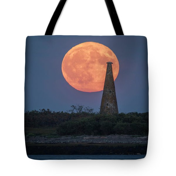 Harvest Moon Over Stage Island, Maine Tote Bag