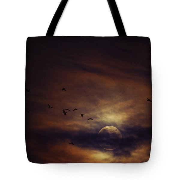 Harvest Moon Over Texas Tote Bag by Karen Slagle