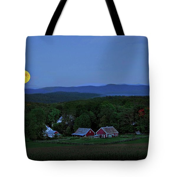 Harvest Moon Over Peacham Vermont Tote Bag