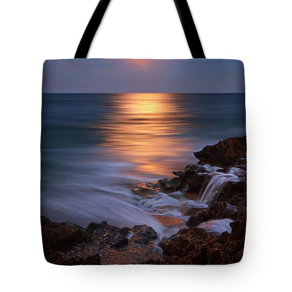 Tote Bag featuring the photograph Harvest Moon Rising Over Beach Rocks On Hutchinson Island Florida During Twilight. by Justin Kelefas