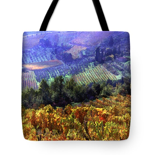 Harvest Time At The Vineyard Tote Bag by Elaine Plesser