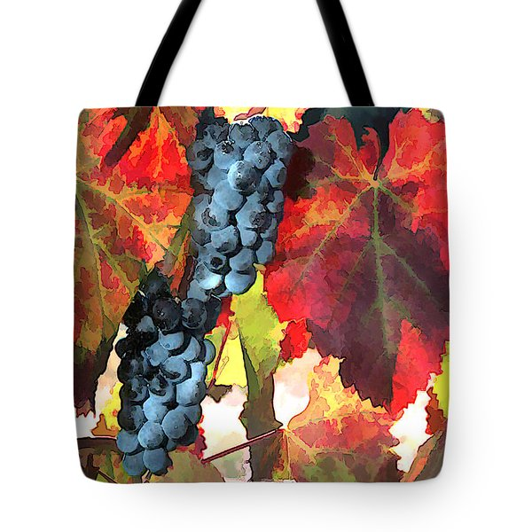 Harvest Time Grapes And Leaves Tote Bag by Elaine Plesser