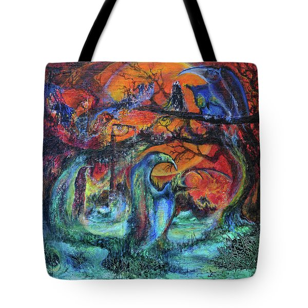 Harvesters Of The Autumnal Swamp Tote Bag by Christophe Ennis