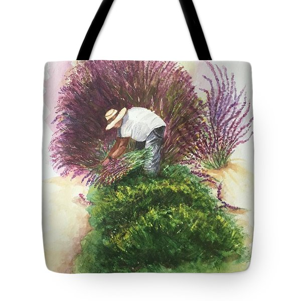 Harvesting Lavender Tote Bag by Lucia Grilletto