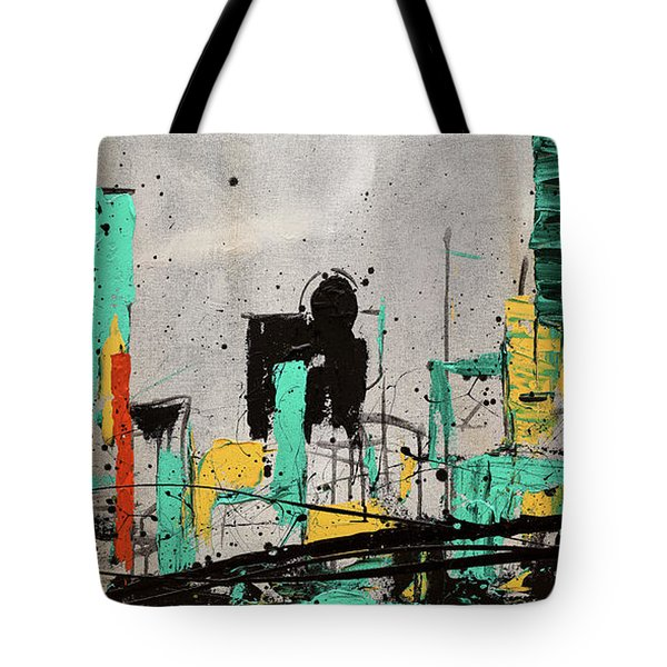 Tote Bag featuring the painting Hashtag City by Carmen Guedez