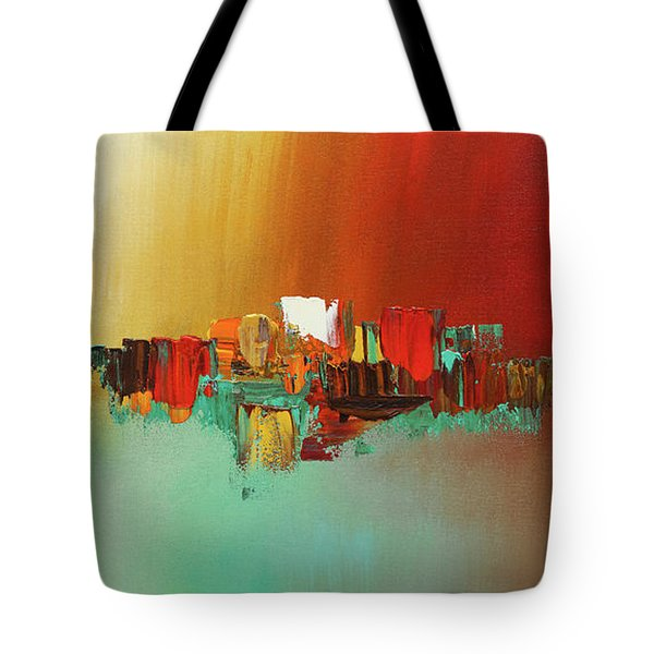 Tote Bag featuring the painting Hashtag Happy - Abstract Art by Carmen Guedez