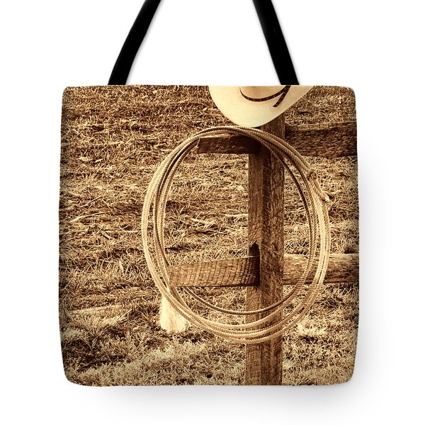Hat And Lariat On A Post Tote Bag